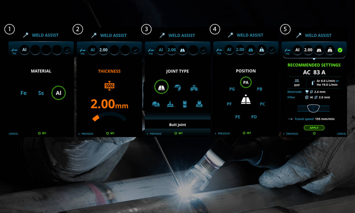 Follow simple on-screen steps, selecting material, thickness, joint type, and position, and Weld Assist sets the best parameters, guiding every welder towards accurate and productive welding.